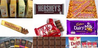 Cokelat riil biasa disimpan di showcase, sementara cokelat kompon biasa disimpan di rak biasa.